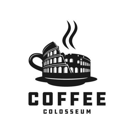 Italian colosseum coffee vector logo design