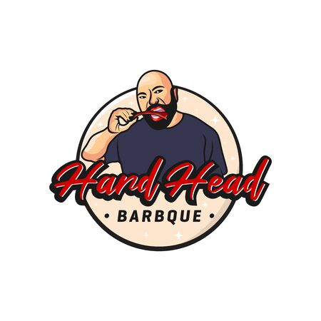 logo design of people eating barbecue meat