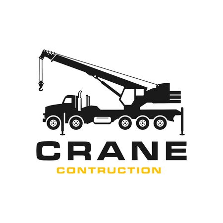 Silhouette transport crane logo design