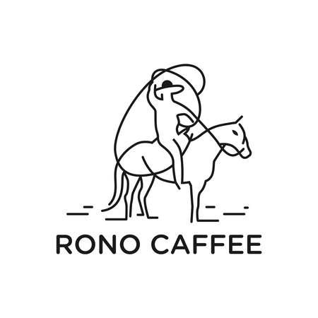 outline cowboy rider logo design Logo