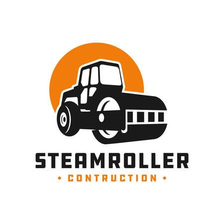 steamroller construction tool logo design