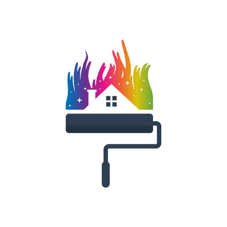 Home and city paint design logo