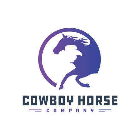 Cowboy rider emblem design your company