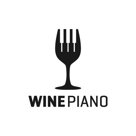 piano wine glass logo design Illustration