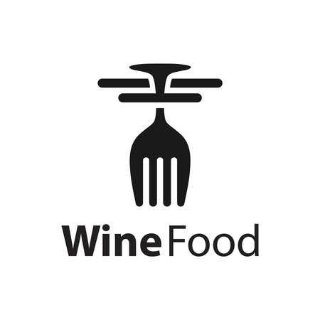 wine glass fork logo design