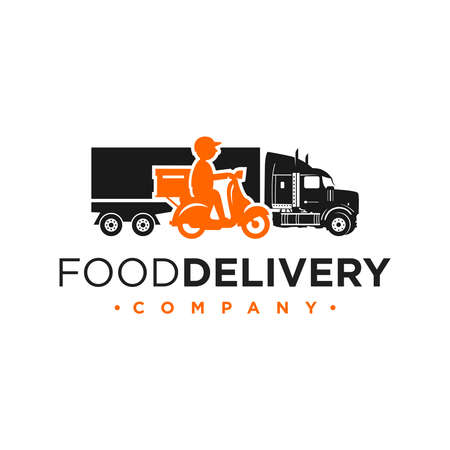 logo design for shipping goods using trucks and motorbikes