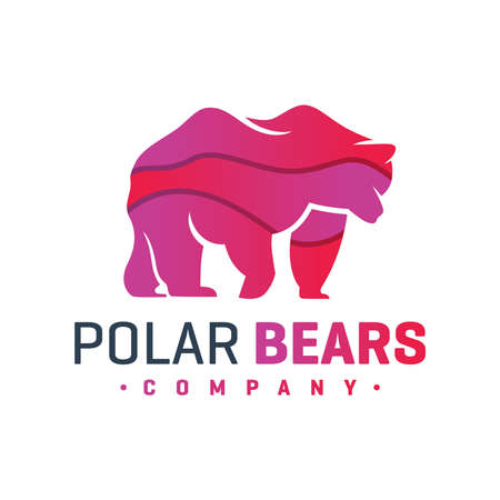polar bear animal vector logo design