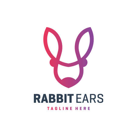 rabbit ear outline logo design