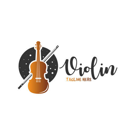 harp musical instrument logo design
