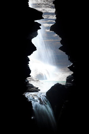 mahadev: The view of Devis Fall or Patale chango seen from the Gupteshwor Mahadev cave of Pokhara,Nepal. Stock Photo