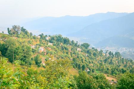 nepali: A beautiful green Nepali Village near the city of Pokhara,Nepal. Stock Photo