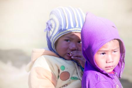 nepali: Chitlang,Nepal - Nov 8,2015:A beautiful portrait shot of two young childs of Nepali village.