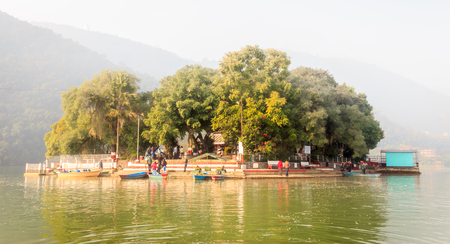 phewa: The Taal Barahi Temple is in the middle of the phewa lake in Pokhara,Nepal