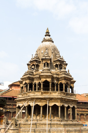 Historic ancient Temple made of stone in Patan Durbar Squre,Nepal after Gorkha Earthquake.
