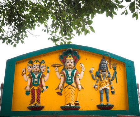 gods: Colorful Hindu Gods on the yellow background .