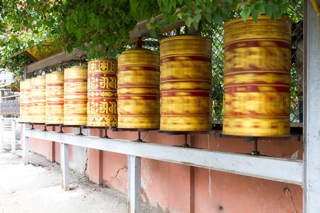 Panning shot of Prayer Wheels in the premises of Swayambhunath Stupa,Nepal.