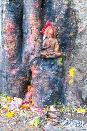 Statue of Buddha of Swayambhunath  Stupa,Kathmandu,Nepal.