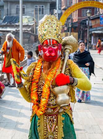 Kathmandu,Nepal - Feb 3,2016: Colorful Sadhu Hanuman at Mahashivatri Festival in Pashupatinath Temple,Kathmandu,Nepal.