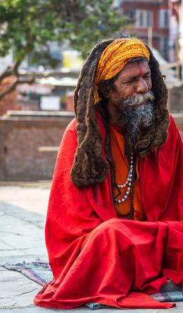 Kathmandu,Nepal - Feb 3,2016: Colorful Sadhu at Mahashivatri Festival in Pashupatinath Temple,Kathmandu,Nepal.