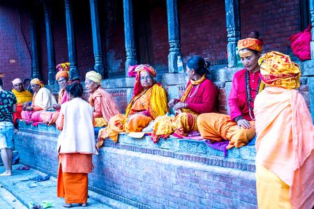 Kathmandu,Nepal - Nov 6,2016: Old people are begging at Pashupatinath Temple,Kathmandu,Nepal. Editorial