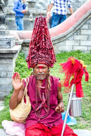 Kathmandu,Nepal - Nov 6,2016: Colorful Sadhu at Mahashivatri Festival in Pashupatinath Temple,Kathmandu,Nepal.
