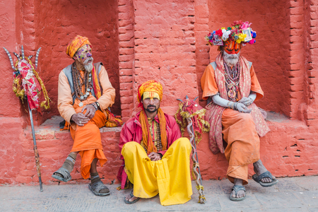 Kathmandu,Nepal - Feb 12,2018: Sadhus or Holy Men at Mahashivaratri Festival in Kathmandu Nepal. Mahashivaratri is one of the biggest festivals of Hindus.This is the greatest festvial dedicated to Lord Shiva. People from all over the world come to Pashupa Stock Photo - 100388238