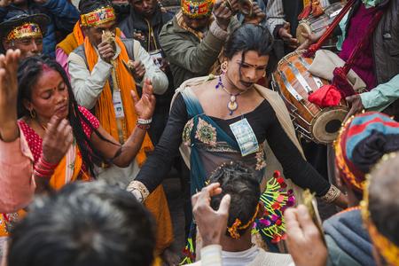Kathmandu,Nepal - Feb 12,2018: Hindu devotees dancing to make Lord Shiva happy at Bol Bom and Mahashivaratri Festival at Pashupatinath Temple,Aryaghat.