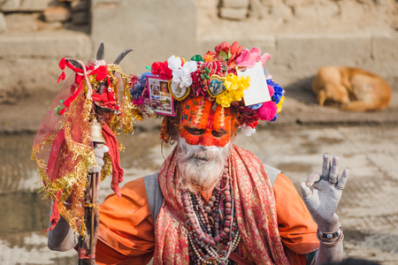 Kathmandu,Nepal - Feb 12,2018: Sadhu or Holy Man at Mahashivaratri Festival in Kathmandu Nepal. Mahashivaratri is one of the biggest festivals of Hindus.This is the greatest festvial dedicated to Lord Shiva. People from all over the world come to Pashupat