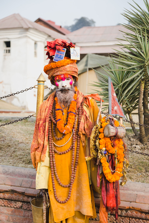 Kathmandu,Nepal - Feb 12,2018: Sadhu or Holy Man at Mahashivaratri Festival in Kathmandu Nepal. Mahashivaratri is one of the biggest festivals of Hindus.This is the greatest festvial dedicated to Lord Shiva. People from all over the world come to Pashupat Stock Photo - 100388267