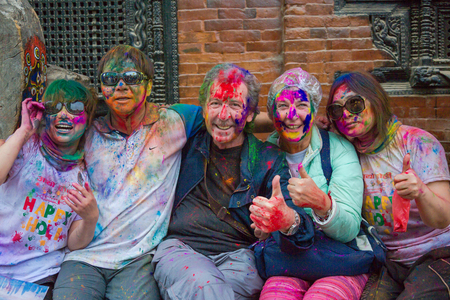 Kathmandu Nepal -Mar 1,2018: Hol is a Hindu spring festival celebrated mainly in Nepal and India.Holi,It is also known as the festival of colours. It signifies the victory of good over evil.Holi is an ancient Hindu religious festival which has nowadays