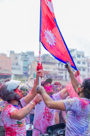 Kathmandu Nepal -Mar 1,2018: Hol is a Hindu spring festival celebrated mainly in Nepal and India.Holi,It is also known as the