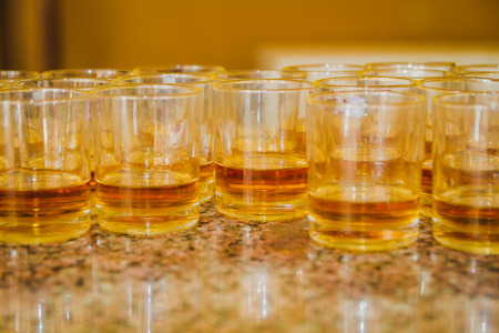 Brewery, drinks and alcohol concept ,different types of beverages/drinks in glasses on trolley ready to serve in party.