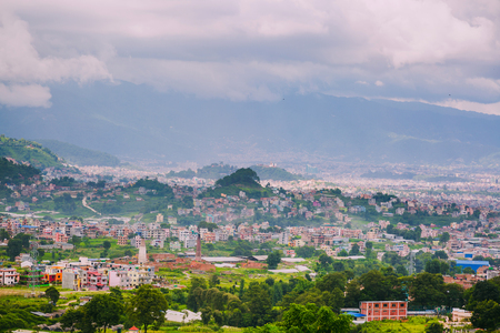 Aerial view of Kathmandu City Capital of Nepal,Bird Eye View Kathmandu City with himalayas mountains at the background,Top View of Kathmandu City.
