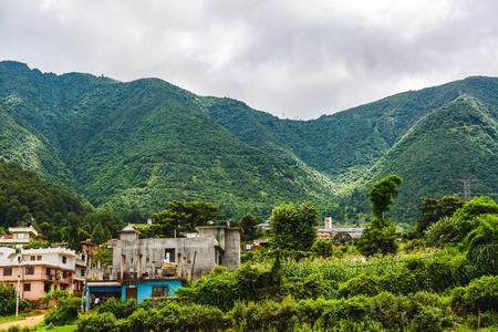 Beautiful green scenery of Nepal in Summer,Scene of Himalayas,Countryside Village of Chandragiri Nepal