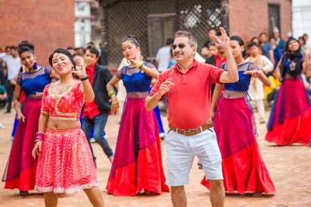 Kathmandu,Nepal - Aug 11,2018: Nepali Dancers Performing for a cultural music video in basantapur,kathmandu.