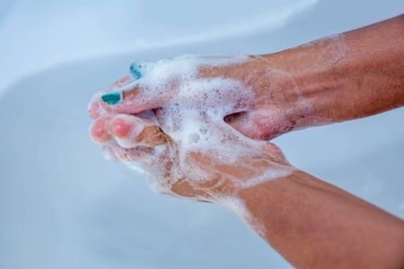 Hand Washing, Close up view of women`s hand with soap