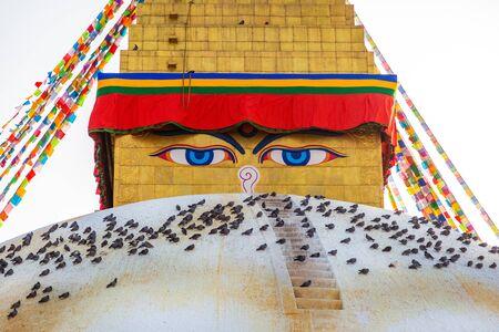 Sacred Boudhanath buddhist stupa with Prayer flags in Kathmandu. Famous Buddhist Stupa in the world Stock fotó