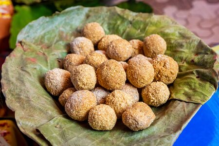 Nepali Traditional Food Kasar Made of Sugar and  fried rice floor. It is very important in Wedding and other important Social events in local village. Nepali Indian Sweet Dish