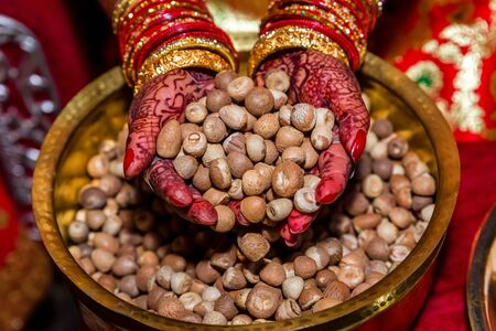 Bride hands with Colorful Mehendi holding a handful Betel Nuts,Betel Nuts Background.Supari