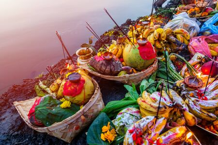 Closeup of various objects with Fruits and Vegetables offered to god at a religious Festival Chhath Puja,Offerings to god during Chath Puja,Hindu Festival