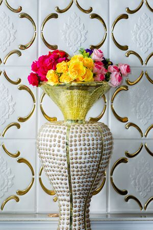 Flower in Antique Old Brass Vase, Home decoration object