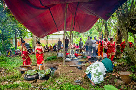 Gorkha,Nepal - June 26,2019: Nepali Villagers having wedding party together in rural village of Nepal. Editorial