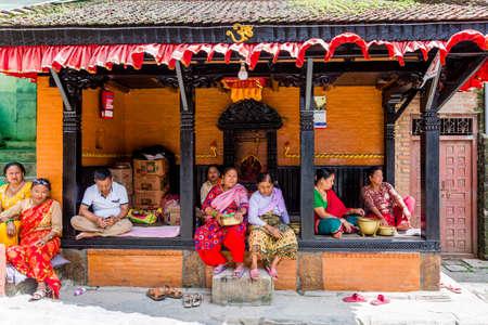 Bhaktapur,Nepal - August 15,2019: Local People of Bhaktapur Nepal enjoying leisure time with friends. Nepalese people Standard-Bild - 148374668