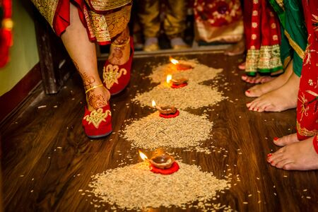 Hindu Marriage Wedding Ceremony,Nepali Wedding Rituals, Griha Prabesh,Bride entering groom's house