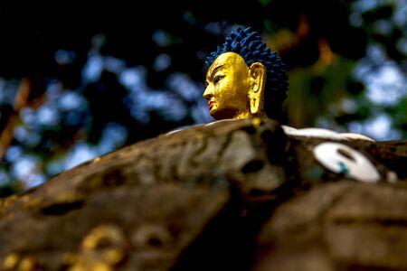 Closeup of Buddha Statue in Kathmandu, Nepal.Buddha Statue. Buddhism, compassionate.Selective focus on eye