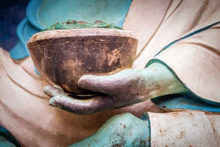 Close up Statue of Buddha`s hand.Buddha Statue. Buddhism, compassionate Standard-Bild