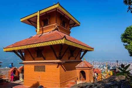 Kathmandu,Nepal - June 14,2019: Jalpadevi Temple of Chovar,Kathmandu Nepal.Tourist Travel Destinations in Kathmandu.Places to visit in Kathmandu.