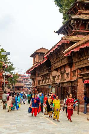 Kathmandu,Nepal - June 28,2019: Hindu Temples of Kathmandu Durbar Square.Tourist Travel Destinations in Kathmandu.Places to visit in Kathmandu. Standard-Bild - 148731763
