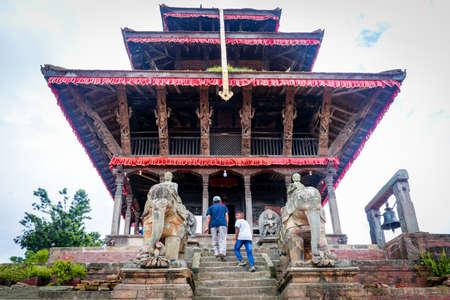 Kathmandu,Nepal - August 15,2019: Hindu Devotees at Uma Maheshwor Temple of Kritipur Kathmandu Nepal.Tourist Travel Destination in Kathmandu.Places to visit in Kathmandu.