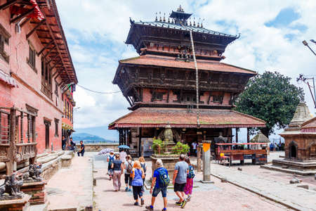 Kathmandu,Nepal - August 15,2019: Group of Tourist at Bagh Bhairav Temple Kathmandu Nepal.Tourist Travel Destination in Kathmandu.Places to visit in Kathmandu.